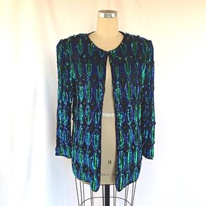 Vintage 80s 90s Sequin Cardigan Top M